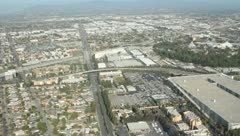 Aerial view over Los Angeles, CA - stock footage
