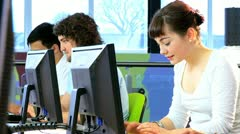 Workshop of students in campus information hub   - stock footage