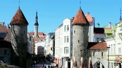 Viru gate and Viru street in Tallinn Stock Footage