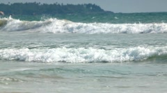 Shore and the waves of Indian Ocean in Sri Lanka - stock footage
