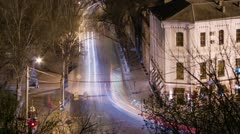 Old city traffic time-lapse at night Stock Footage
