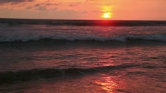 Waves of the Indian Ocean into the sunset - stock footage