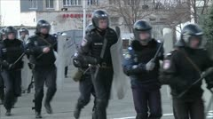 Training of police to disperse mass disorders 2 Stock Footage