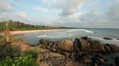 Waves and rocks Indian Ocean in Sri Lanka - stock footage