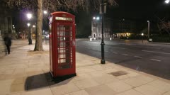 Telephone Box at night. Timelapse. 25fps. Stock Footage