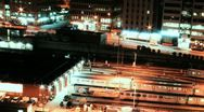 Subway Train and Traffic Night Timelapse Stock Footage