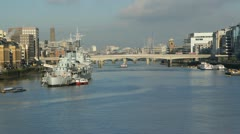 River Thames. Sunny morning. Stock Footage