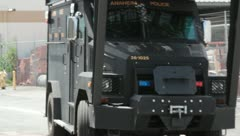 SWAT Truck pulling up Stock Footage