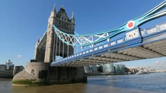 Tower Bridge on sunny morning. Stock Footage