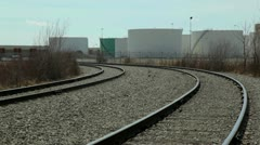 Fuel Tanks & Train Tracks Stock Footage