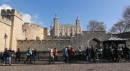 Tower of London with tourists. Wide shot. Stock Footage