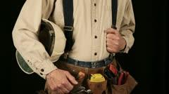 Man wearing tool belt 9-1 Stock Footage
