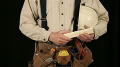 Man wearing tool belt 11-1 Stock Footage