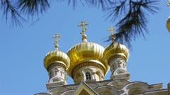 Jerusalem, Israel - Maria Magdalena Orthodox Church Stock Footage