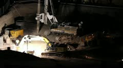 Stock Video Footage of HD 30p Mega Construction in the night - night diggers - - a series - 2