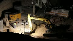 Stock Video Footage of HD 30p Mega Construction in the night - night diggers - - a series - 4