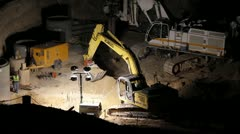 Stock Video Footage of HD 30p Mega Construction in the night - night diggers - - a series - 5