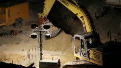 Stock Video Footage of HD 30p Mega Construction in the night - night diggers - - a series - 6