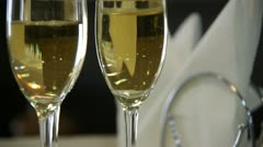 Two Glasses of Champagne and Serviette Stock Footage