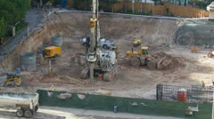 HD 30p Mega-construction - drilling for pylons and foundation work in time lapse Stock Footage