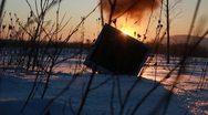 Fire light snow Monitor TV Stock Footage