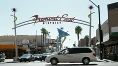 Fremont East district sign at intersection Stock Footage