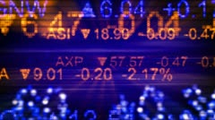 Stock market quotes orange blue seamless loop background Stock Footage