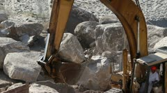 Beach construction digger work industry Stock Footage