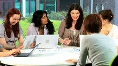 Female teacher teaching online young students   - stock footage