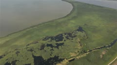 Aerial shot of woods and sea in Poland Stock Footage