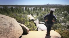 Hikers in high mountain Stock Footage