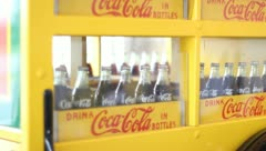 Glass coke bottles in old truck Stock Footage