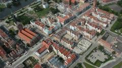 Aerial shot of polish city Stock Footage