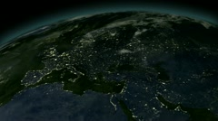 Lights of Europe and Asia from space. Stock Footage