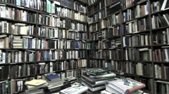 Old Bookstore Pan Stock Footage