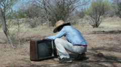 Woman out in the Boonies with Old TV Stock Footage