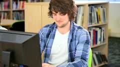 Caucasian male student focus on career  Stock Footage