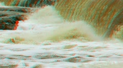 Stereoscopic 3D waterfall in a river 1 Stock Footage