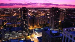Pink Sunset City Scape Time Lapse Stock Footage