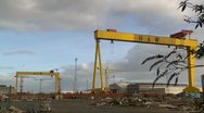 Stock Video Footage of Iconic Belfast Harland & Wolff Shipyard cranes