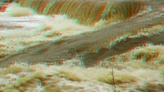 Stereoscopic 3D waterfall in a river 2 Stock Footage