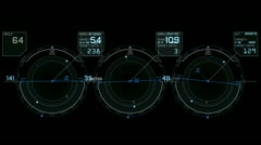 Radar GPS signal tech screen display,science sci-fi data computer navigation. - stock footage