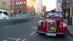 Red Taxi Cab Belfast Time Lapse Stock Footage