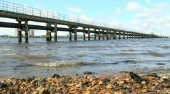 Coastal Pipeline and Boardwalk Stock Footage