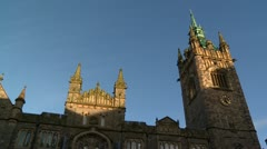 Spire and clock tower Stock Footage
