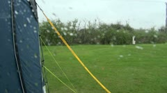 Rainy Day on a Campsite Stock Footage