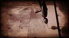 Aged manual hand drill sepia front view Stock Footage