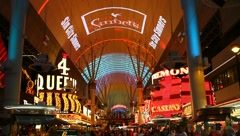 Tourists Ziplining Over Fremont Street in Las Vegas Stock Video Stock Footage