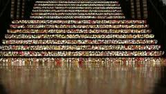 People Walking on Flowery Lit Staircase in Las Vegas Stock Video Stock Footage
