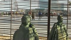 "Barcelona Beach Sculpture ""A Room Where It Is Always Raining"" Stock Footage"